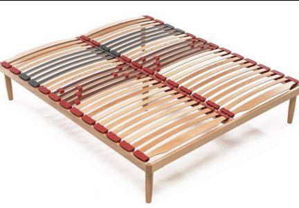 Somiera pentru pat dublu cu amortizoare, din lemn de fag RDS