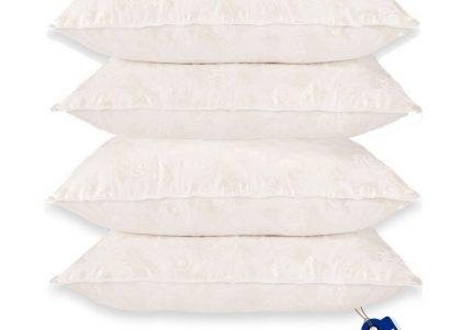 Set de 2 perne 50×70 si 2 perne 70×70 cu puf si pana de gasca alb